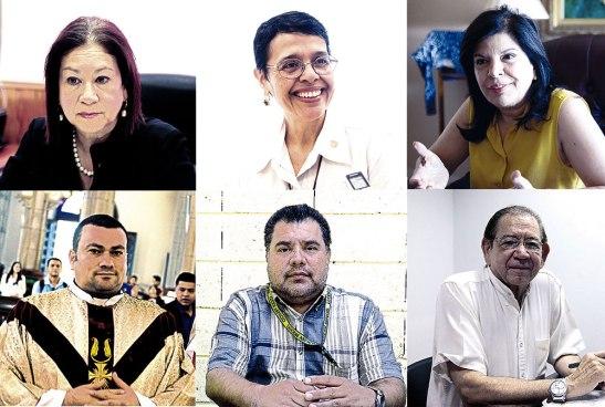 Belinda Flores de Mendoza, Rutilia Calderon, Juliette Handall de Castillo, Presbítero Carlo Magno Nuñez, Javier Membreño, Livio Ramírez.