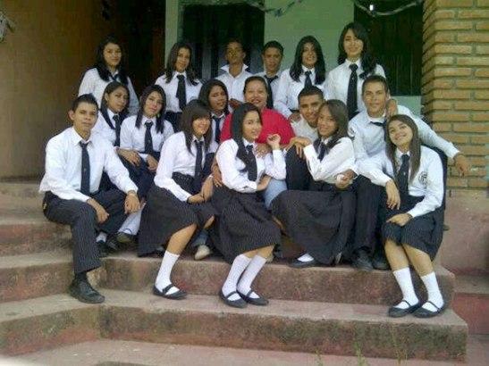 Un grupo de alumnos del Instituto Cardenal Óscar Andrés Rodríguez Maradiaga.