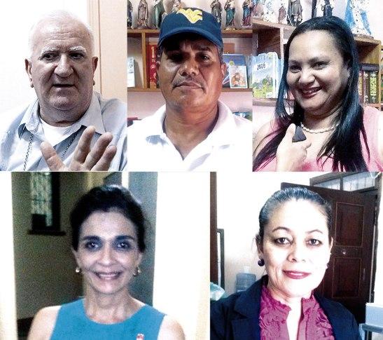 Monseñor Miguel Lenihan, Bernardo Peralta, Gloria Munguía,  Martha de Ugarte y Vilma Yanet Robles.