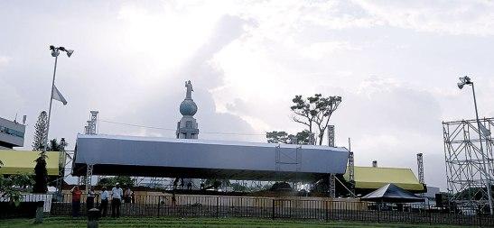 Vista panorámica del templete donde se realizará la Beatificación de Monseñor Romero.