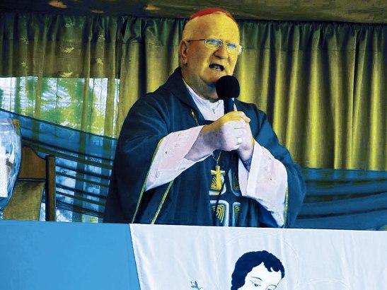Monseñor Michael Lenihan en el momento de la homilía  dirigida a las familia.